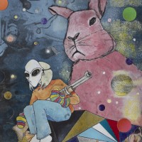 "Don't Mess With the Pink Bunny, Intaglio, collage, acrylic, glitter and colored pencil on Rives BFK 10"" x 8"" COLLABORATION WITH JANE SOBOTTKA"