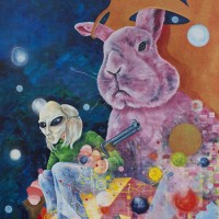 "Don't Mess With The Pink Rabbit, Oil and acrylic on canvas, 48"" x 36"" 2014"